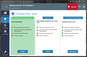 Malwarebuster in use shot, choose your scan.